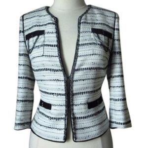WHBM Tweed Blazer. Open front, chains on pockets